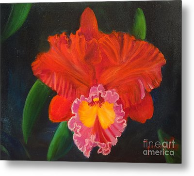 Metal Print featuring the painting Red Orchid by Jenny Lee