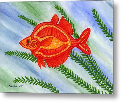 Red Rainbow Fish Metal Print