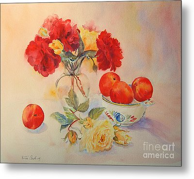 Metal Print featuring the painting Red Roses Jazz by Beatrice Cloake