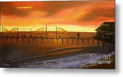 Redondo Beach Pier At Sunset Metal Print by Bev Conover
