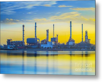 Refinery Industrial Plant Metal Print by Anek Suwannaphoom