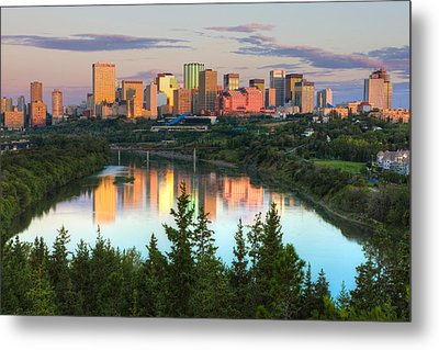 Reflection Of Downtown Buildings Metal Print by Panoramic Images