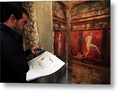 Restoration Of Roman Frescoes Metal Print by Pasquale Sorrentino