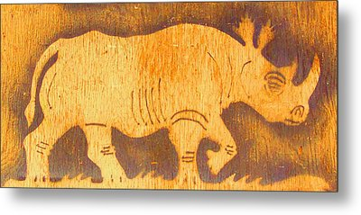Rhino Metal Print by Larry Campbell