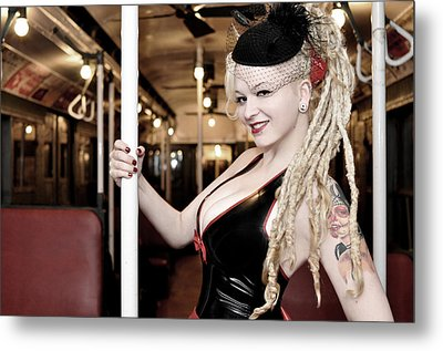 Ride The Pinup Express Metal Print