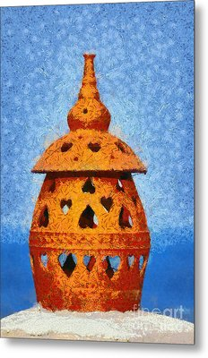 Roof Pottery In Sifnos Island Metal Print