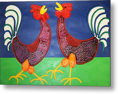 2 Roosters Metal Print by Matthew Brzostoski