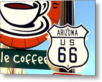 Metal Print featuring the digital art Route 66 Coffee by Valerie Reeves