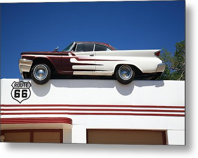Route 66 - Desoto's Salon Metal Print by Frank Romeo