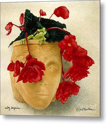 Ruby Begonia... Metal Print by Will Bullas