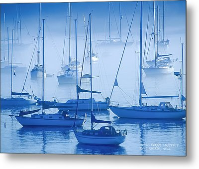 Sailboats In The Fog - Maine Metal Print by David Perry Lawrence