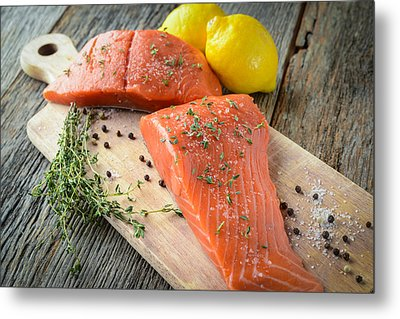 Salmon On A Cutting Board With Lemon Salt And Pepper Metal Print