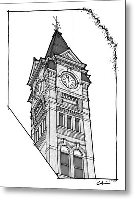 Metal Print featuring the drawing Samford Hall Clock Tower by Calvin Durham