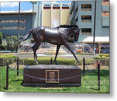 Santa Anita Race Track Statue Of Zenyatta Metal Print