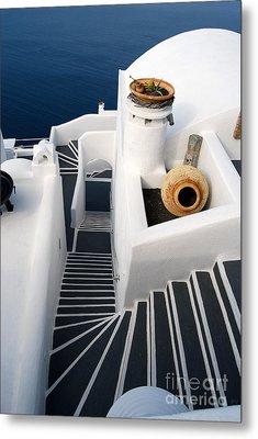 Santorini Steps Metal Print by Eva Kaufman