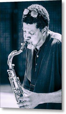 Saxophone Player 2 Metal Print by Carolyn Marshall