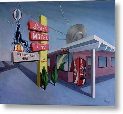 Metal Print featuring the painting Seal's Motel by Sally Banfill