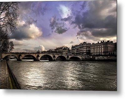 Sena River In Paris After Storm Metal Print