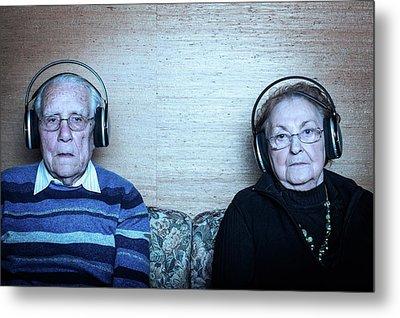 Senior Couple Wearing Headphones Metal Print by Mauro Fermariello