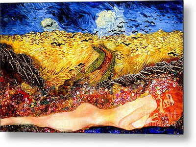 Serpent In Wheatfield Metal Print