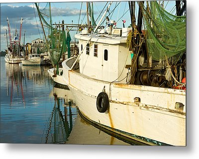 Shrimp Boats Metal Print by Denis Lemay