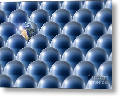 Single Earth, Conceptual Artwork Metal Print