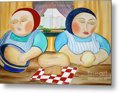 Sisters Baking Metal Print by Teresa Hutto