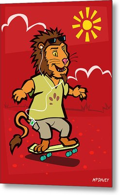 skateboarding Lion  Metal Print by Martin Davey