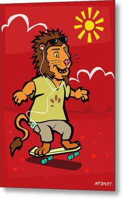 skateboarding Lion  Metal Print