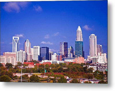 Skyline Of Uptown Charlotte North Carolina At Night Metal Print by Alex Grichenko