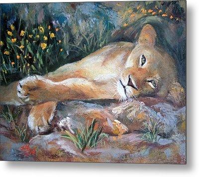Metal Print featuring the painting Sleep Lion by Jieming Wang