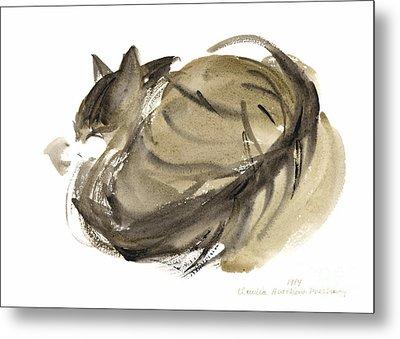 Sleeping Cat Metal Print by Claudia Hutchins-Puechavy