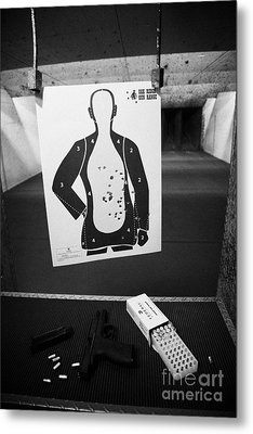 Smith And Wesson 9mm Handgun With Ammunition At A Gun Range In Florida Usa Metal Print by Joe Fox