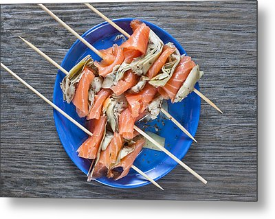 Smoked Salmon And Grilled Artichoke Metal Print by Tom Gowanlock