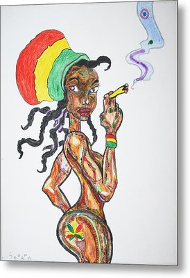 Smoking Rasta Girl Metal Print