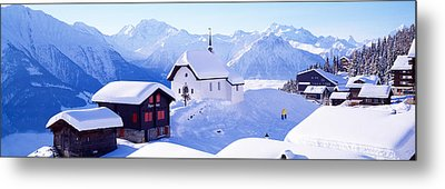 Snow Covered Chapel And Chalets Swiss Metal Print by Panoramic Images