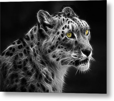 Metal Print featuring the digital art Snow Leopard by Nina Bradica