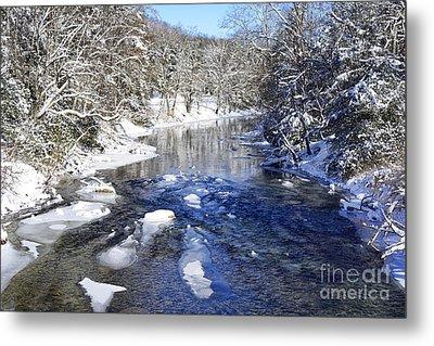 Snow On Gauley River Metal Print by Thomas R Fletcher