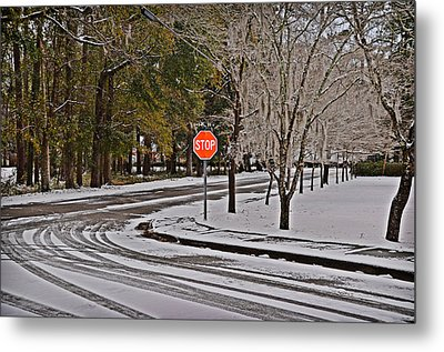 Metal Print featuring the photograph Snowy Street by Linda Brown