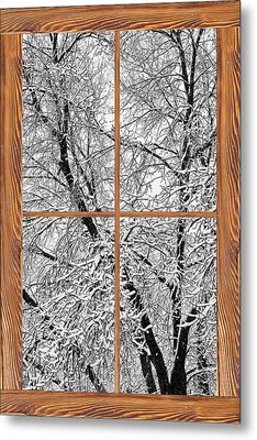 Snowy Tree Branches Barn Wood Picture Window Frame View Metal Print by James BO  Insogna