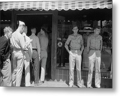 Soldiers From Fort Benning At The Bus Metal Print by Stocktrek Images