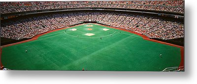 Spectator Watching A Baseball Match Metal Print by Panoramic Images
