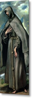 St Francis Of Assisi Metal Print by El Greco Domenico Theotocopuli