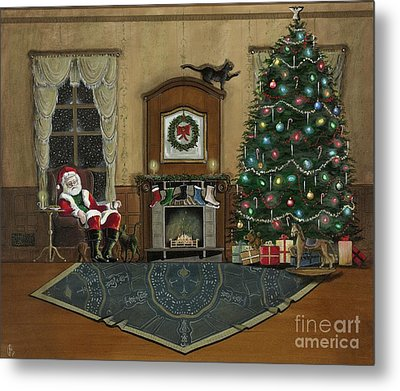 St. Nicholas Sitting In A Chair On Christmas Eve Metal Print by John Lyes