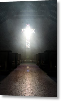 Stained Glass Window Crucifix Church Metal Print