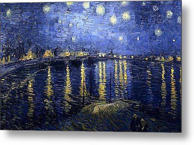 Metal Print featuring the painting Starry Night Over The Rhone by Vincent Van Gogh