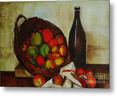 Still Life With Apples After Cezanne - Painting Metal Print by Veronica Rickard