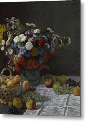 Still Life With Flowers And Fruit Metal Print