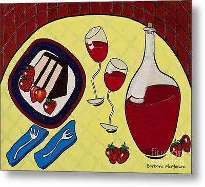 Strawberry Wine Metal Print by Barbara McMahon