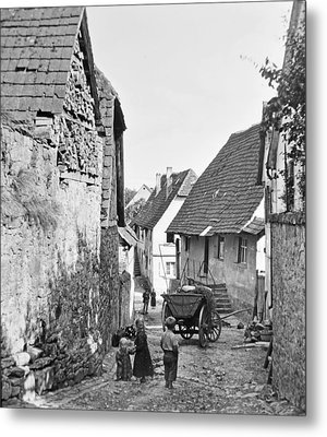 Metal Print featuring the photograph Street Scene Heidelberg Germany 1903 by A Gurmankin